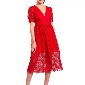 Gianni Bini Bright Red Gabrielle Lace V Neck Dress